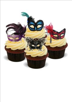 NOVELTY MASQUERADE BALL MASK MIX Multi Designs 12 STANDUP Edible Cake Toppers