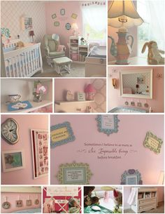 Alice in Wonderland Themed Nursery AMAZON: Crib Changing Table Night Stand Shadow Box Quote Decal Pink Memo Board BUY BUY BABY/3B: Dutalier Reclining Rocker Willow by Wendy Bellissimo Bedding Set Dali Wall Clock IKEA: Three Tiered Bookshelf B