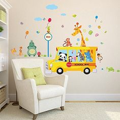 FairyTeller Cartoon Animals School Bus Wall Stickers For Kids Rooms Panda Monkey Giraffee Turtle Nursery Room Decor Art Wall Decal Poster -- Be sure to check out this awesome product.