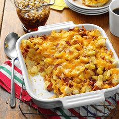 Apple, Cheddar & Bacon Bread Pudding Recipe- Recipes I had this dish at a bridal brunch many years ago. It was so delicious that I created my own version, and this is the result. Jell O, Turkey Casserole, Casserole Recipes, Casserole Dishes, Brunch Recipes, Breakfast Recipes, Breakfast Ideas, Brunch Ideas, Brunch Foods