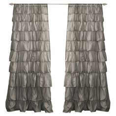 Gray curtain with handmade ruffles.     Product: CurtainConstruction Material: 100% PolyesterColor:
