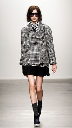 Mono Houndstooth Pattern #Coat #Fashion #Trend for Fall Winter 2013 I Karen Walker #Fall2013