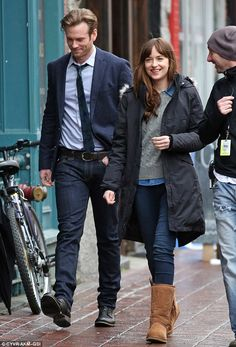 New guy: Eric Johnson was also sported on set for the first time as he filmed with Dakota...