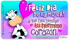 feliz dia de la mujer Good Morning Good Night, Ladies Day, Girl Power, Slogan, Smurfs, Scrapbook, Gifts, Fictional Characters, Tobias
