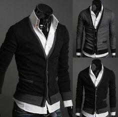 Korean Style Men's 2-Tone Layer Look Cardigan