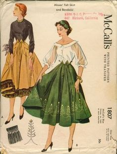 The Nifty Fifties — 1953 McCalls sewing pattern illustrations. The Nifty Fifties — 1953 McCalls sewing pattern illustrations. Vintage Dress Patterns, Vintage Dresses, Vintage Outfits, 1950s Dresses, 1950s Skirt, Vintage Clothing, Vintage Skirt, Retro Mode, Mode Vintage