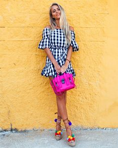 gingham dress with pom pom sandals and pink bag