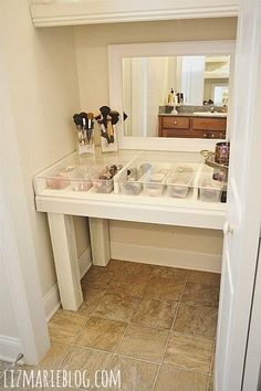Bathroom closet, install a vanity to hide all my beauty stuff.  Put shelves above for linens