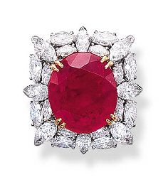 A RUBY AND DIAMOND CLUSTER RING, BY HARRY WINSTON