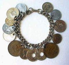 vintage coin bracelet | Vintage Coin Bracelet 1950s Germany Austria Pakistan Africa & more