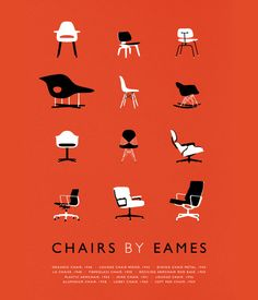 Mid Century Modern chair design illustrations. Displays all of Eames' classic chairs in a chronological order. The standard coloring of the poster is white & black illustrations and typography on a vintage red background. Is a perfect compliment to any space that's even slightly influenced by mid century design. By Etsy.