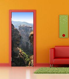 DS14 - View between two mountains removable door sticker landscape picture. illusion door mural, door skin. Peel and stick photo door sticker scene Art Fever http://www.amazon.co.uk/dp/B00E1HF814/ref=cm_sw_r_pi_dp_06zJtb1DH1085G7C