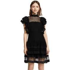 ANINE BING Penelope Dress ($300) ❤ liked on Polyvore featuring dresses, black, sheer cocktail dress, frilly dresses, ruched waist dress, sheer dress and flutter-sleeve dress