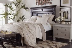 Bedroom home decor from Ethen Allen home decor. Like the bed and the bench but not the dresser