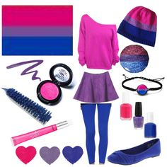 Bi Pride Flag Inspired Outfit by outcast-and-proud on Polyvore featuring Hanny Deep, Medusa's Makeup, Dr.Hauschka, Victoria's Secret, Vincent Longo, Essie, OPI, pride, bisexual and bi