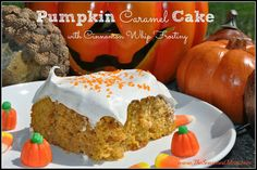 Pumpkin Caramel Cake with Cinnamon Whip Frosting. Delicious & Easy Dessert Idea for Fall!