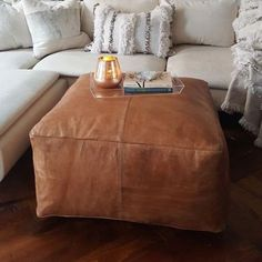 Our Square leather ottoman pouf is mindfully handcrafted in Morocco by skilled artisans. 100 full grain natural vegetable-tanned leather, and oiled to shade. Moroccan Decor Living Room, Living Room Pouf, Morrocan Decor, Living Area, Moroccan Bedroom, Barn Living, Moroccan Lanterns, Moroccan Interiors, Cozy Living