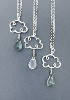 cloud necklace cloud jewelry raindrop by SharonClancyDesigns
