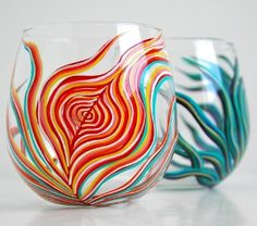 Yin and Yang Peacock Stemless Glasses-Set of 2 Hand-Painted Wine