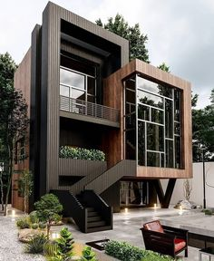 Stunning Villa Design & Visualize by Architecture Design Concept, Architecture Building Design, Plans Architecture, Modern Architecture House, Container Architecture, Sustainable Architecture, Interior Architecture, Layouts Casa, House Layouts