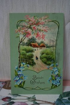 Postcard アンティークポストカード408ピンクと青のお花風景 インテリア 雑貨 家具 Antique ¥200yen 〆08月03日
