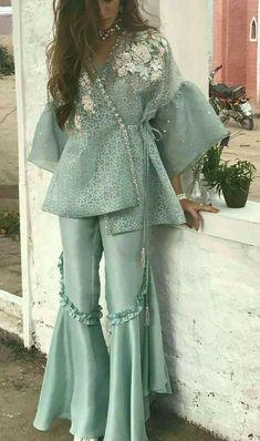 Security Check Required - Bespoke custom made Sharara suits For any inquiries Please email : nivetasfashion . We Ship Worldwide Pakistani Wedding Outfits, Pakistani Dresses Casual, Indian Fashion Dresses, Dress Indian Style, Pakistani Dress Design, Indian Designer Outfits, Indian Outfits, Pakistani Sharara, Pakistani Bridal