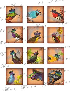 2x2 inch squares vintage birds with royal crowns on old postcard sky collage sheet 225. $3.50, via Etsy.