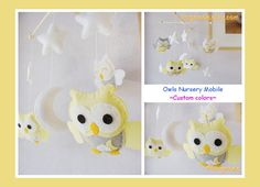 Baby Crib Mobile - Owl Nursery Mobile - Yellow Gray White Owls in a White starry night on Etsy, $85.00