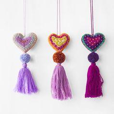 Heart Pom Pom - Purples