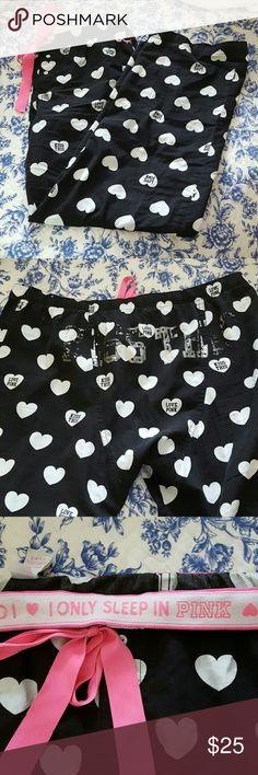 """Victoria's Secret Pink sleep pants Super cute and comfy VS pink sleep pants. can be buttoned into capris. drawstring/ ribbon tie. distressed """"kiss this"""" on back. Victoria's Secret Intimates & Sleepwear Pajamas"""