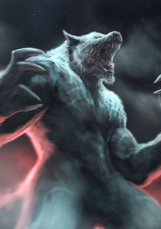 ArtStation - Gauru and Honor, Mirko Failoni Dark Fantasy Art, Fantasy Artwork, Fantasy Wolf, Fantasy Creatures, Mythical Creatures, Art Wolfe, Vampires And Werewolves, Female Werewolves, Werewolf Art