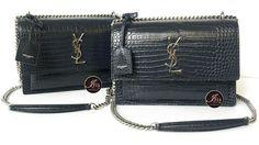 กระเป๋า YSL MEDIUM SUNSET BAG IN DARK GREY CROCODILE EMBOSSED SHINY LEATHER หนังจระเข้ ของใหม่ พร้อมส่ง - Iris Shop