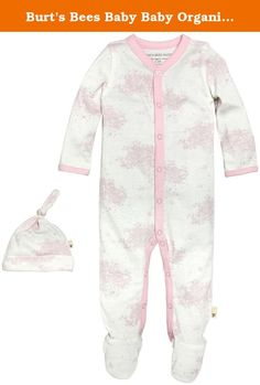 Burt's Bees Baby Baby Organic Toile Snap-Front Coverall and Hat Set, Cherry Blossom, 0-3 Months. This comfy coverall is perfect for an adventurous day! the toile print and footed feature make it easy to crawl comfortably in style. Throw on the matching knot top hat for a head to toe look.