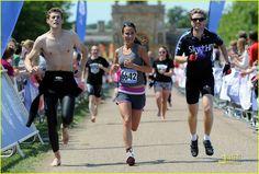Pippa Middleton crosses the finishing line on 6/4/2011 GE Blenheim Triathlon at Blenheim Palace in Woodstock, England