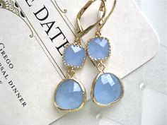 Periwinkle Blue Gold Earrings Bride Bridesmaids Wedding Party Bridal Jewelry on Etsy, $26.00