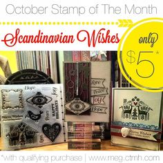 Close To My Heart October 2013 Stamp of the Month - Scandinavian Wishes - $5 wiht qualifying purchase - click the photo for more info!  #CTMH #scrapbooking #stamps #card #Cardmaking #handcrafted #DIY #crafty #holiday #christmas