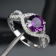 Real 14K White Gold Purple 6.5mm VS Amethyst Pave 0.40ct Diamond Engagement Wedding Ring