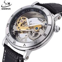 Top Luxury Brand hollow skeleton Automatic Mechanical watch men leather Stainless steel fashion Steampunk self wind waterproof