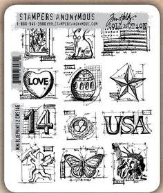 Tim Holtz - Cling Rubber Stamp Set - Mini Blueprints 2: Ooh, more mini blueprints!