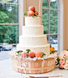 Wedding Cakes With Real Fruits...I like the thought of the fresh peaches as decor...or with lemons...thoughts