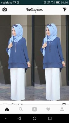 A modest tunic and wide pants works for so many situations Abaya Fashion, Muslim Fashion, Modest Fashion, Fashion Dresses, Hijab Outfit, Hijab Gown, Dress Over Pants, Modest Pants, Abaya Mode