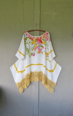 LOVE this one! I have a couple of nice table clothes perfect perfect for this type of project!!! -fran Summer Lagenlook tunic dress / Eco upcycled by lillienoradrygoods
