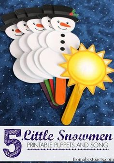 5 Little Snowmen: Winter Preschool Songs - - 5 Little Snowmen Free Printable Puppets and Song – From ABCs to ACTs Winter Songs For Preschool, Preschool Music, Winter Activities, Circle Time Ideas For Preschool, January Preschool Themes, Preschool Christmas Activities, Preschool Kindergarten, Preschool Ideas, Winter Fun