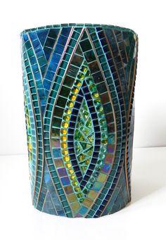 Mosaic Art - Large Stained Glass Mosaic Vase on Ceramic in Blue, Turquoise and Yellow,Accented with Copper - # Mosaic Planters, Mosaic Vase, Mosaic Flower Pots, Glass Planter, Mosaic Crafts, Mosaic Projects, Vitromosaico Ideas, Mosaic Bottles, Glazed Ceramic Tile