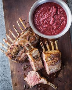 Rack of Lamb with Spicy Cranberry Relish - Legendary Recipes Lamb Recipes, Wine Recipes, Great Recipes, Cooking Recipes, Grilling Recipes, Delicious Recipes, Chicken Recipes, Cranberry Relish, Relish Recipes