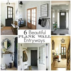 Bright plank walls and dark doors make for gorgeous entryways. - Littlehouseoffour.com