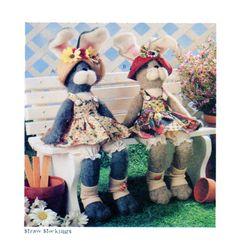 Soft Stuffed Bunny Rabbit Straw Stockings by FindCraftyPatterns, $8.00