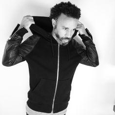 McMarden leather zip-front hoodie
