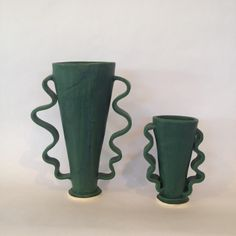 Morgan Peck, green squiggle vases