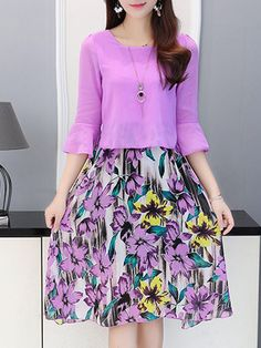 Fashionmia Bell Sleeve Chiffon Skater Dress In Floral Print. Elegant Dresses, Vintage Dresses, Casual Dresses, Fashion Dresses, Bell Sleeve Dress, Maxi Dress With Sleeves, Sleeve Dresses, Work Dresses For Women, Clothes For Women